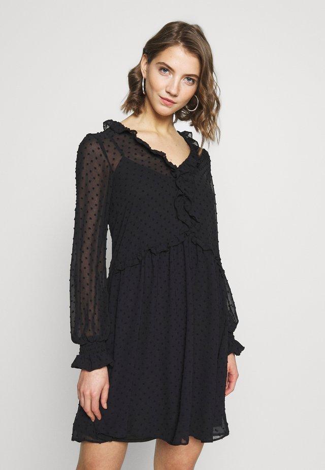 DOBBY RUFFLE FRONT SMOCK MINI - Day dress - black