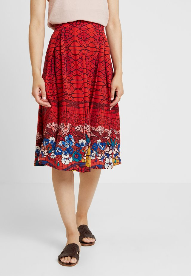 PRINTED SKIRT - Gonna a campana - red