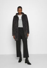 Dorothy Perkins - FUNNEL COLLAR TEXTURED LONGLINE  - Winter coat - slate - 1