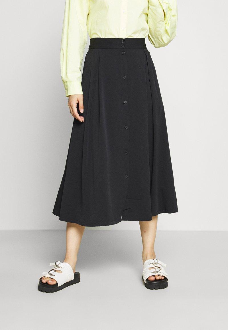 Monki - SIGRID BUTTON SKIRT - A-line skirt - black dark solid
