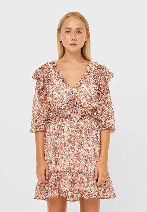 KURZES ROMANTISCHES - Jersey dress - white/orange