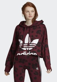 adidas Originals - BELLISTA ALLOVER PRINT CROPPED HOODIE - Sweatshirt - red - 0
