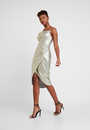 THEA METALLIC COWL DRESS - Cocktail dress / Party dress - metallic silver