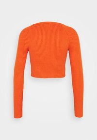 Glamorous - CARE RIBBED CROP CARDIGAN WITH LONG SLEEVES AND V-NECK - Jumper - rust - 1