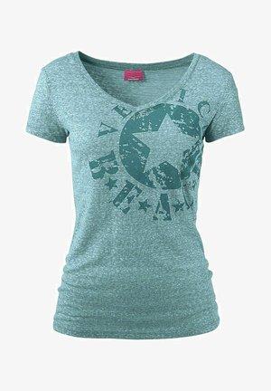 Print T-shirt - türkis-meliert