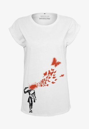 BANKSY´S GRAFFITI BUTTERFLY TEE - Print T-shirt - white