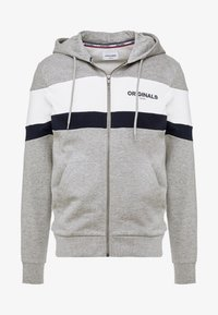 Jack & Jones - JORNEWSHAKEDOWN BLOCK ZIP  - Mikina na zip - light grey melange - 4