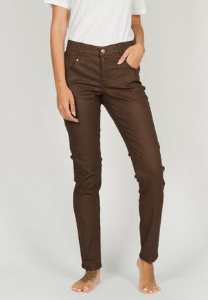 BUTTON' MIT PATCH - Trousers - hellbraun