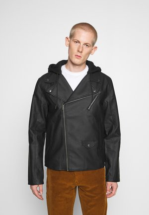 HOODED BIKE JACKET - Faux leather jacket - black