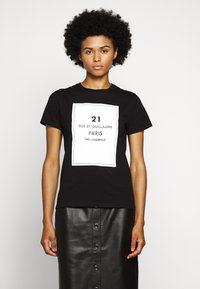 KARL LAGERFELD - SQUARE ADDRESS LOGO - Print T-shirt - black - 0