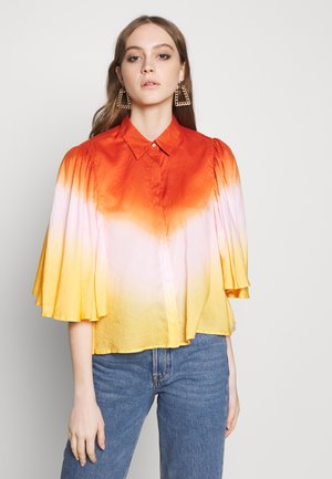 OMBRÉ SHORT SLEEVE SHIRT WITH VOLUMINOUS SLEEVE - Košile - combo