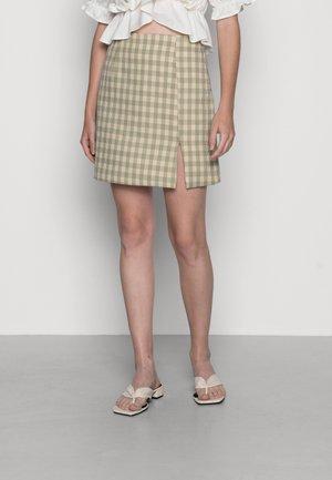 HIGH WAISTED SKIRT WITH FRONT SIDE SPLIT - Mini skirt - turquoise/multi