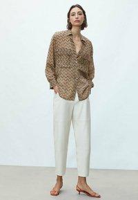 Massimo Dutti - Button-down blouse - beige - 1