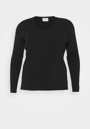 V NECK CROP WITH BUTTON DETAIL - Cardigan - black