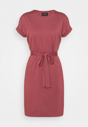BASIC - Short sleeves mini belted dress - Jersey dress - red