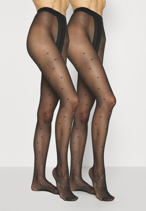 LOVE LUXE 15 DENIER HEART TIGHTS 2 PACK - Panty - black