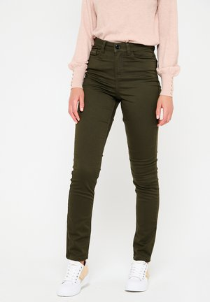 WITH HIGH WAIST - Jeans Skinny Fit - khaki