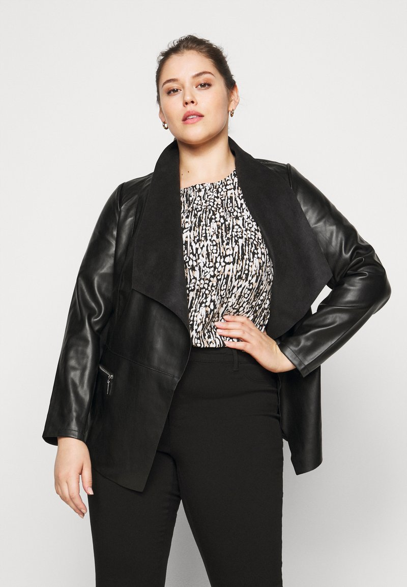 Dorothy Perkins Curve - WATERFALL JACKET - Faux leather jacket - black