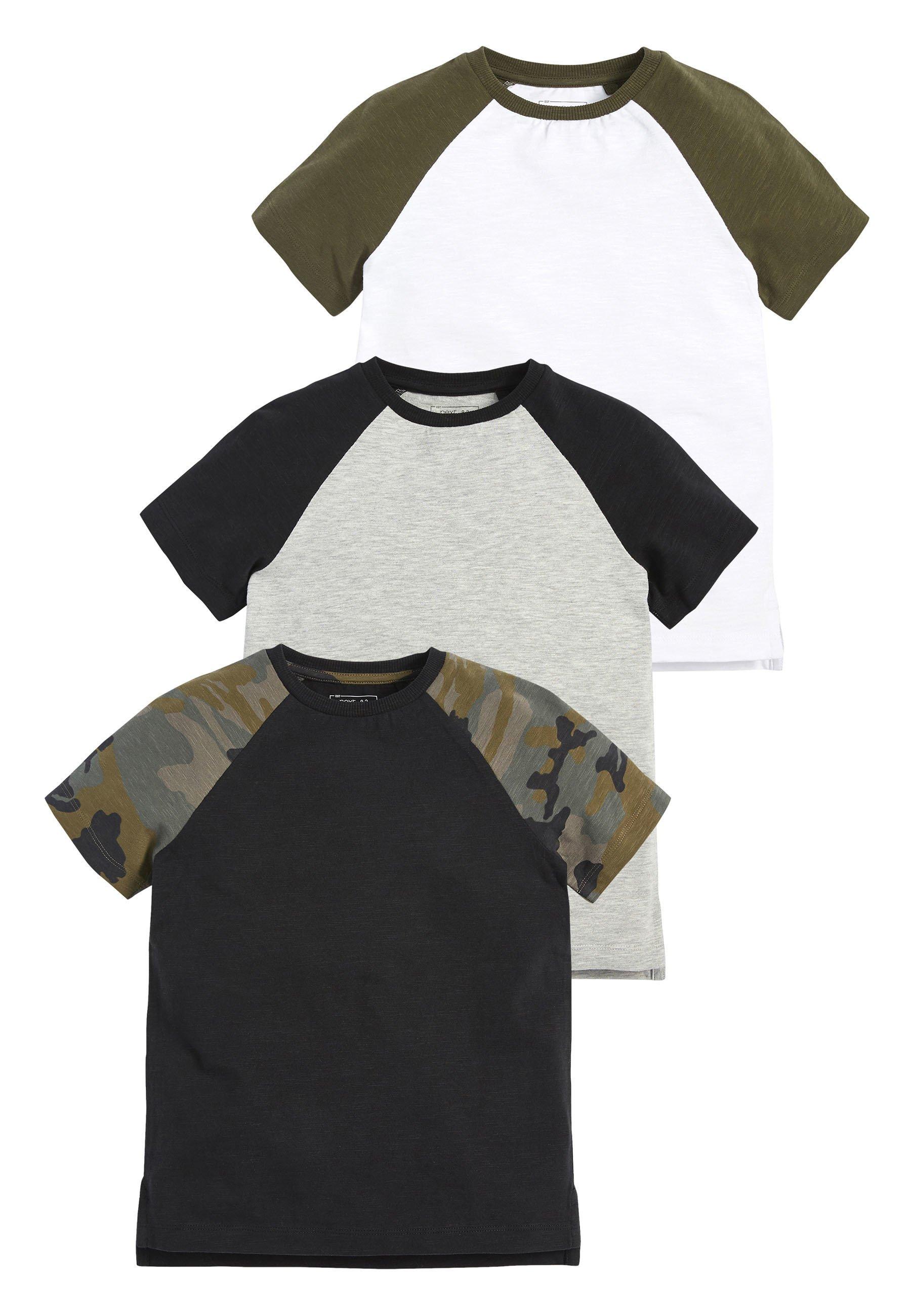 Kinder CAMOUFLAGE 3 PACK CAMO SHORT SLEEVE RAGLAN T-SHIRTS (3-16YRS) - T-Shirt print