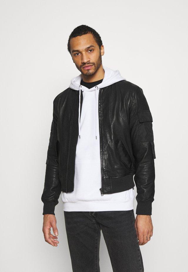 ROWAN - Leather jacket - black