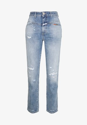 PEDAL PUSHER HIGH WAIST CROPPED LENGTH - Jean boyfriend - mid blue
