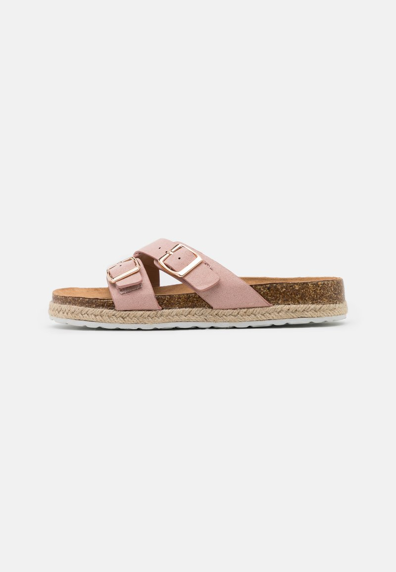 Dorothy Perkins Wide Fit - WIDE FIT FOXY DOUBLE BUCKLE FOOTBED - Slippers - pink