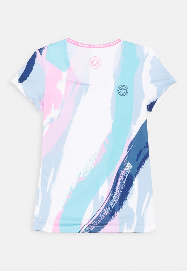 HEDE TECH ROUNDNECK TEE - T-shirt con stampa - white/aqua