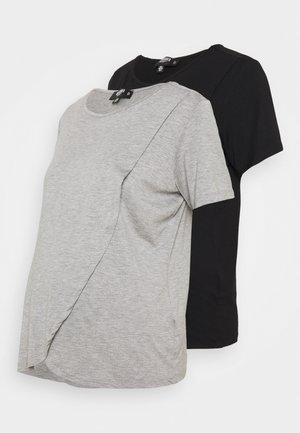 NURSING SHIRT 2 PACK - Basic T-shirt - grey marl/black