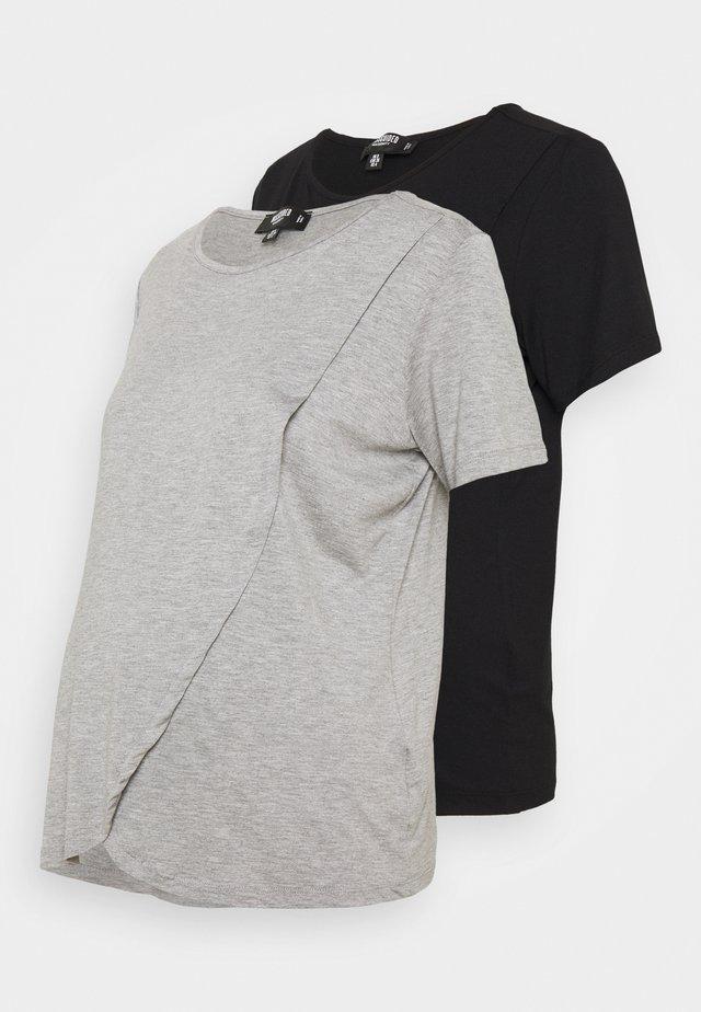 NURSING SHIRT 2 PACK - T-shirt - bas - grey marl/black
