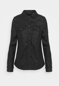 Vero Moda - VMMARIASLIM COATED SHIRT  - Button-down blouse - black - 4
