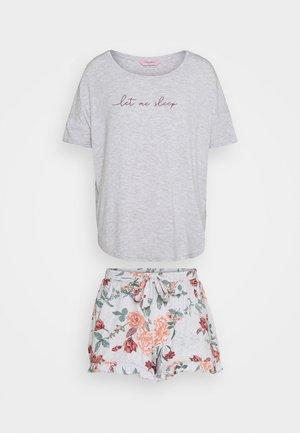 SHORT CAMI FLOWER - Pyjamas - grey