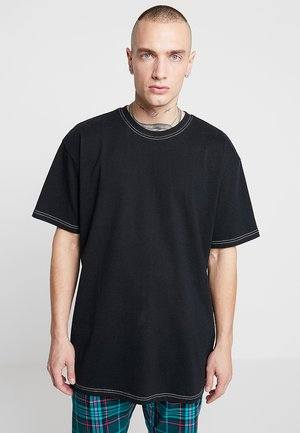 HEAVY OVERSIZED CONTRAST STITCH TEE - T-shirt - bas - black