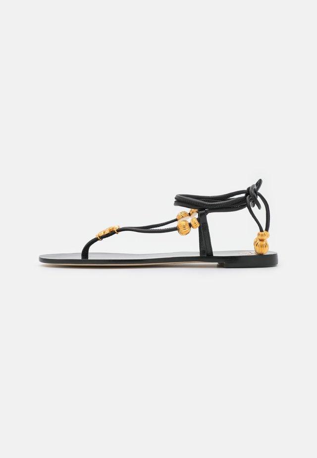 CAPRI FLAT LACE UP - T-bar sandals - perfect black