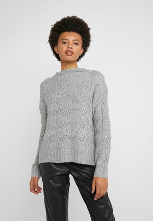 POINTELLE CABLE PULLOVER - Sweter - grey