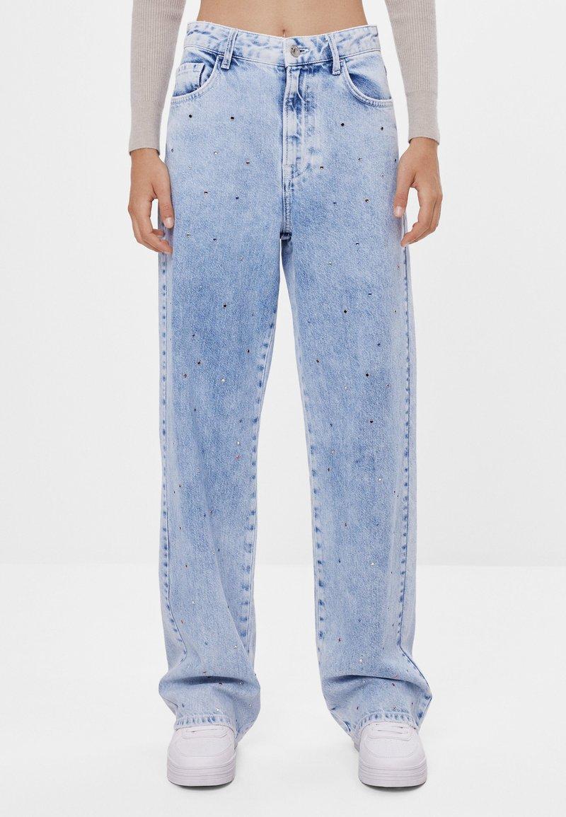 Bershka - Široké džíny - blue denim