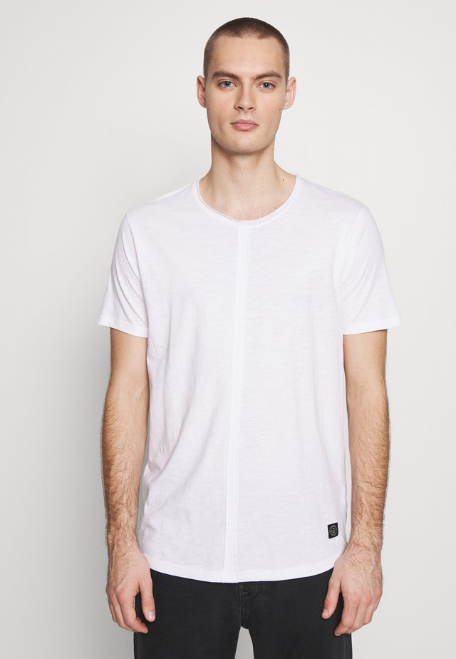 RAW NECK SLUB TEE CURVED - T-paita - white