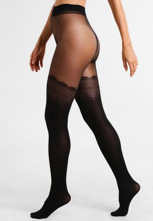 FLIRTY MOCK HOLD UP - Tights - black