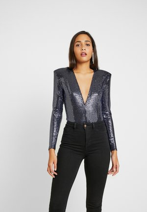 GLAM PLUNGE BODYSUIT - Long sleeved top - blue
