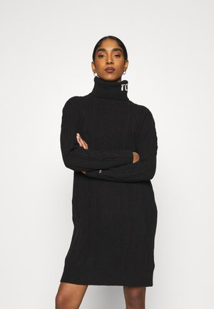 TURTLE NECK DRESS - Abito in maglia - black