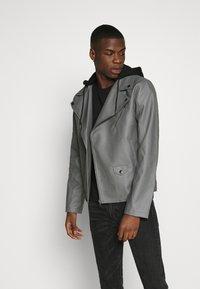 Nominal - HOODED BIKE JACKET - Faux leather jacket - grey - 0