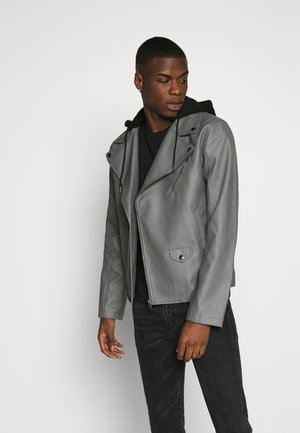 HOODED BIKE JACKET - Faux leather jacket - grey