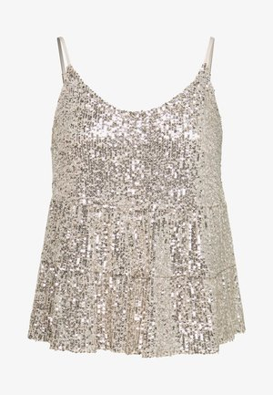 TIERED SEQUIN CAMI - Toppi - silver
