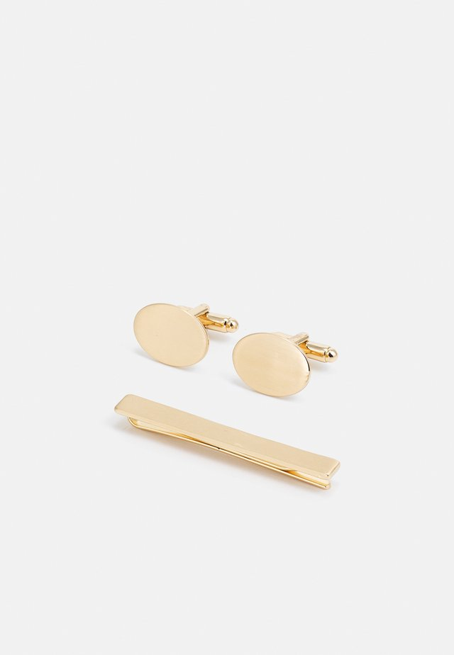 OVAL CUFFLINK AND TIE PIN SET - Cufflinks - gold-coloured