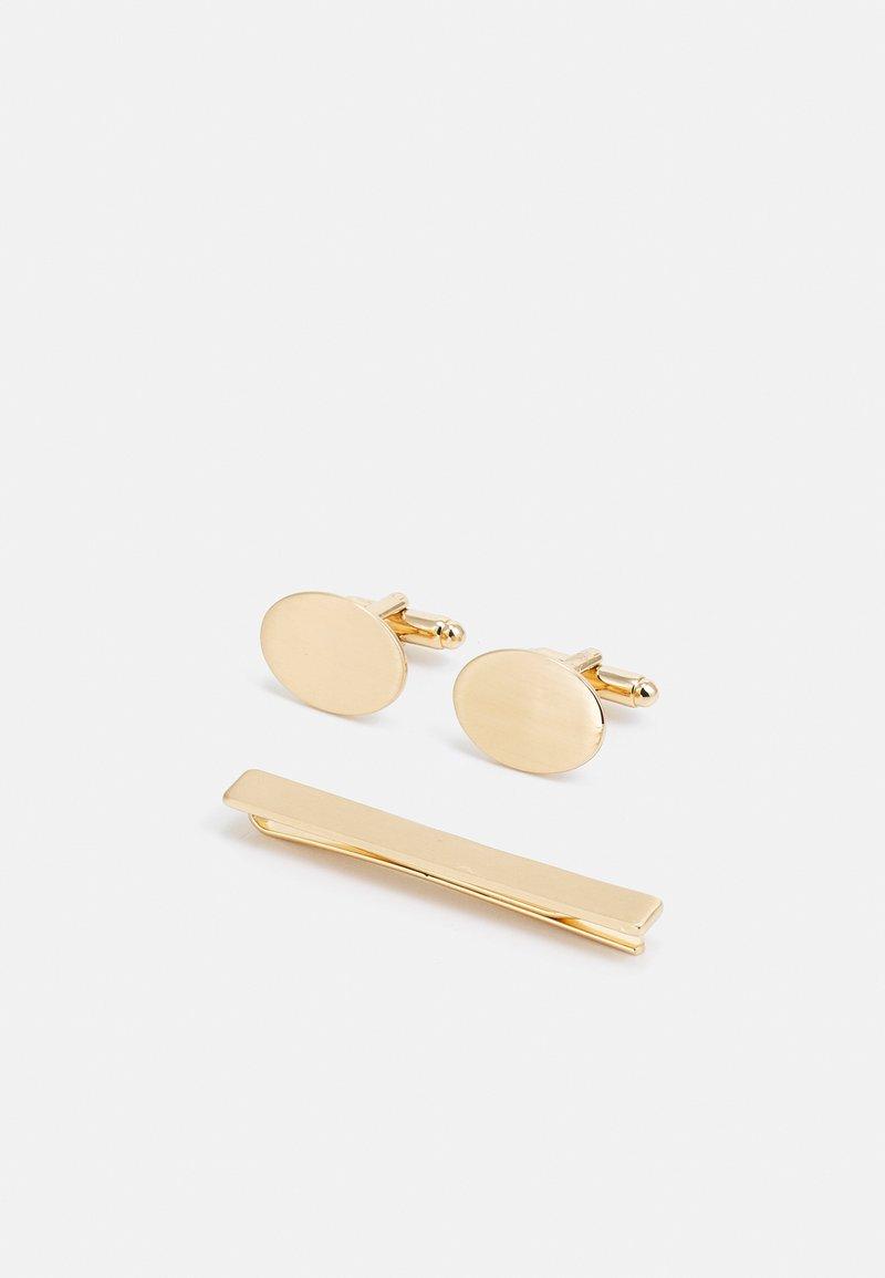Burton Menswear London - OVAL CUFFLINK AND TIE PIN SET - Kalvosinnapit - gold-coloured