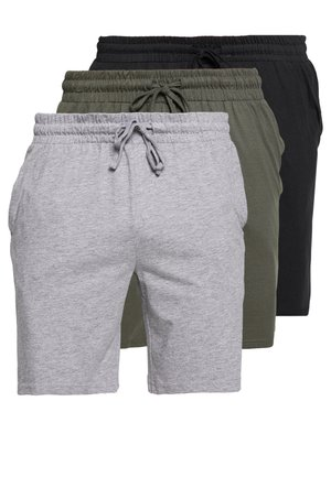 BASIC 3 PACK - Pantaloni del pigiama - black/mottled grey