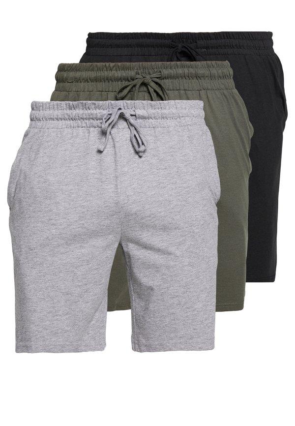 Pier One 3 PACK - Spodnie od piżamy - black/mottled grey/czarny Odzież Męska LCIQ