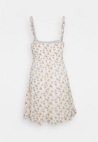Abercrombie & Fitch - SMOCKED BABYDOLL SHORT DRESS - Kjole - white - 1