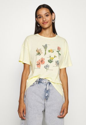 FLOWER TYPES DINER TEE - Print T-shirt - yellow