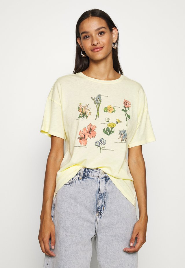 FLOWER TYPES DINER TEE - T-shirts print - yellow