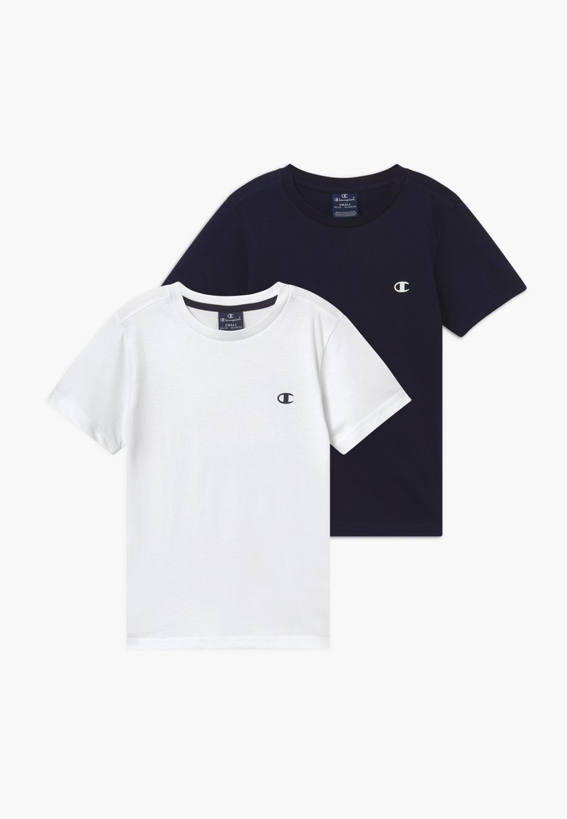 Champion - LEGACY BASICS CREW-NECK UNISEX 2 PACK  - T-shirt basic - white/dark blue